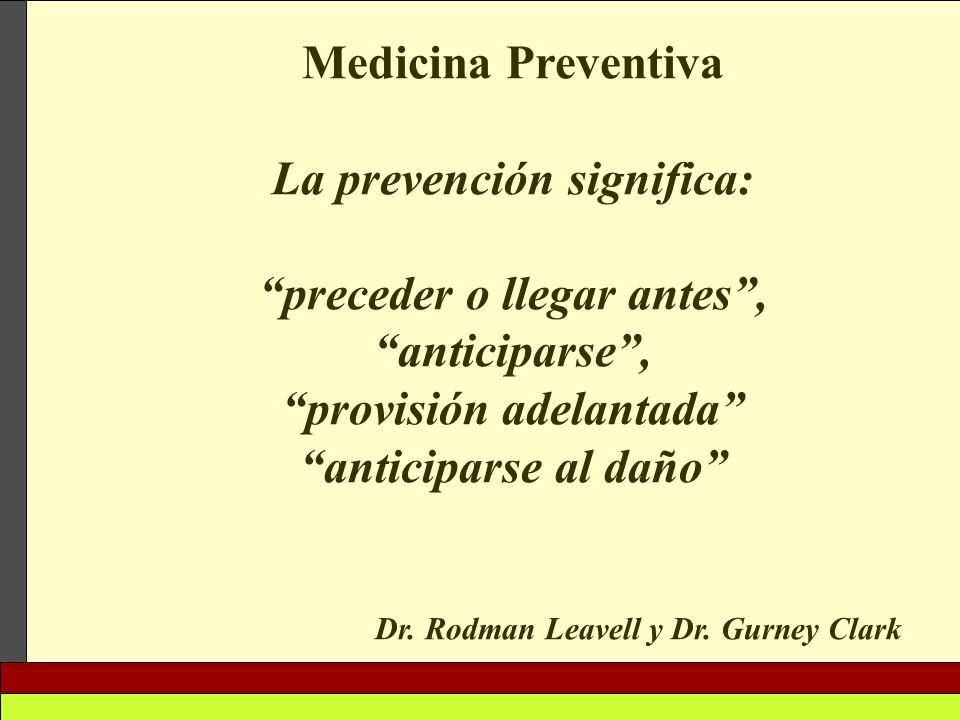 Medicina Preventiva La prevención significa: preceder o llegar antes, anticiparse, provisión adelantada anticiparse al daño Dr. Rodman Leavell y Dr. G