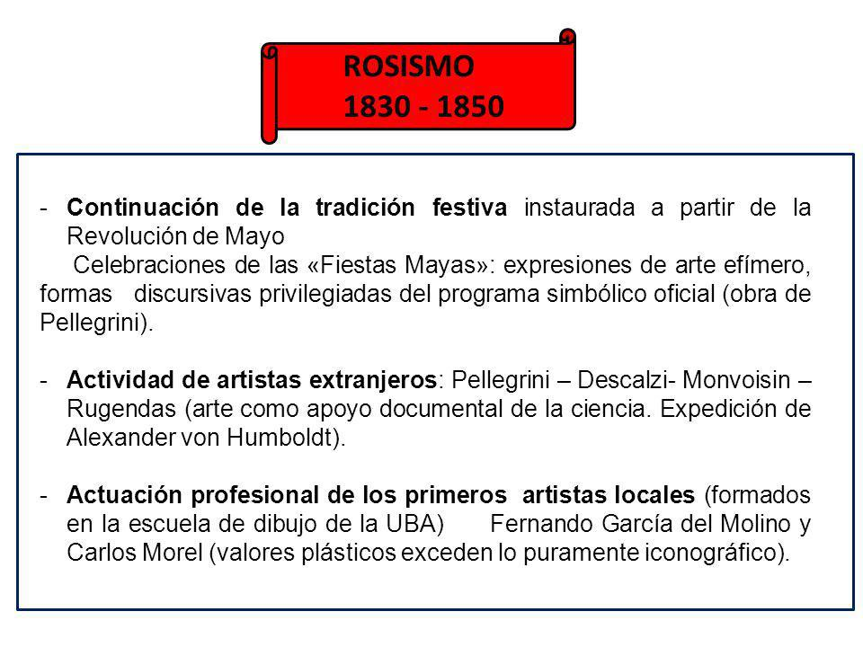 ROSISMO 1830 - 1850 -Continuación de la tradición festiva instaurada a partir de la Revolución de Mayo Celebraciones de las «Fiestas Mayas»: expresion