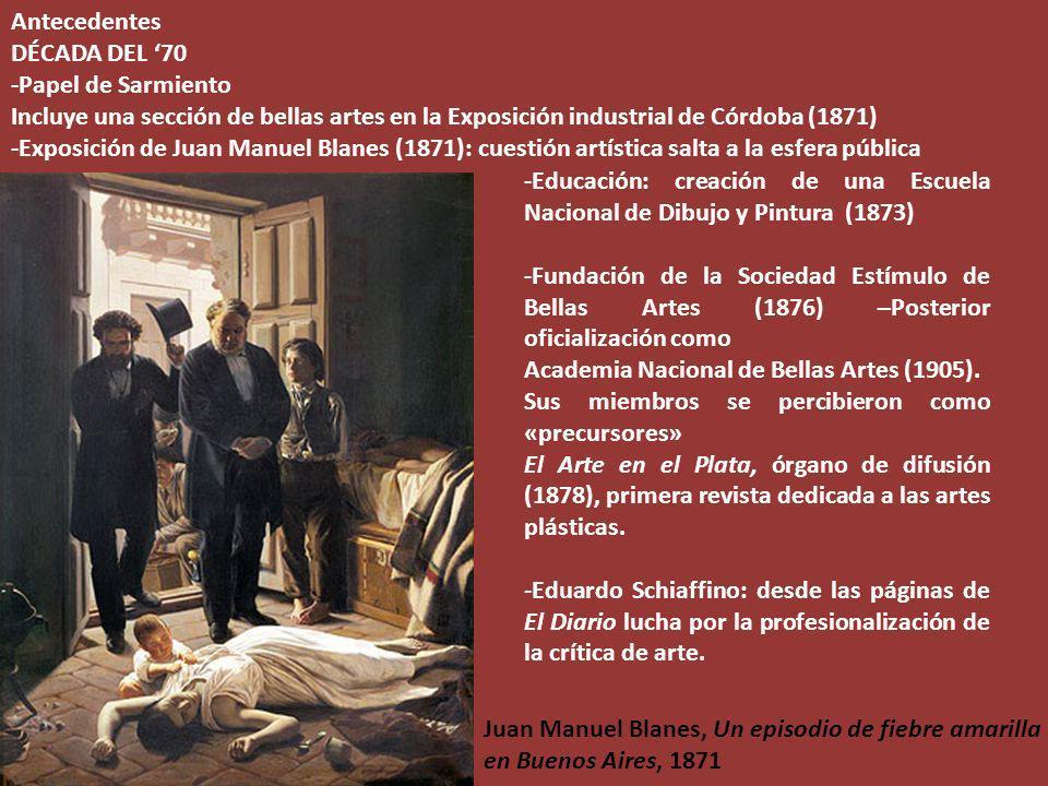 Antecedentes DÉCADA DEL 70 -Papel de Sarmiento Incluye una sección de bellas artes en la Exposición industrial de Córdoba (1871) -Exposición de Juan M