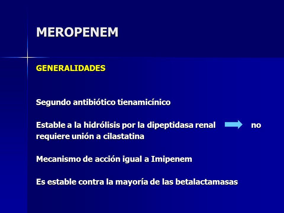 MEROPENEM GENERALIDADES Segundo antibiótico tienamicínico Estable a la hidrólisis por la dipeptidasa renal no requiere unión a cilastatina Mecanismo d