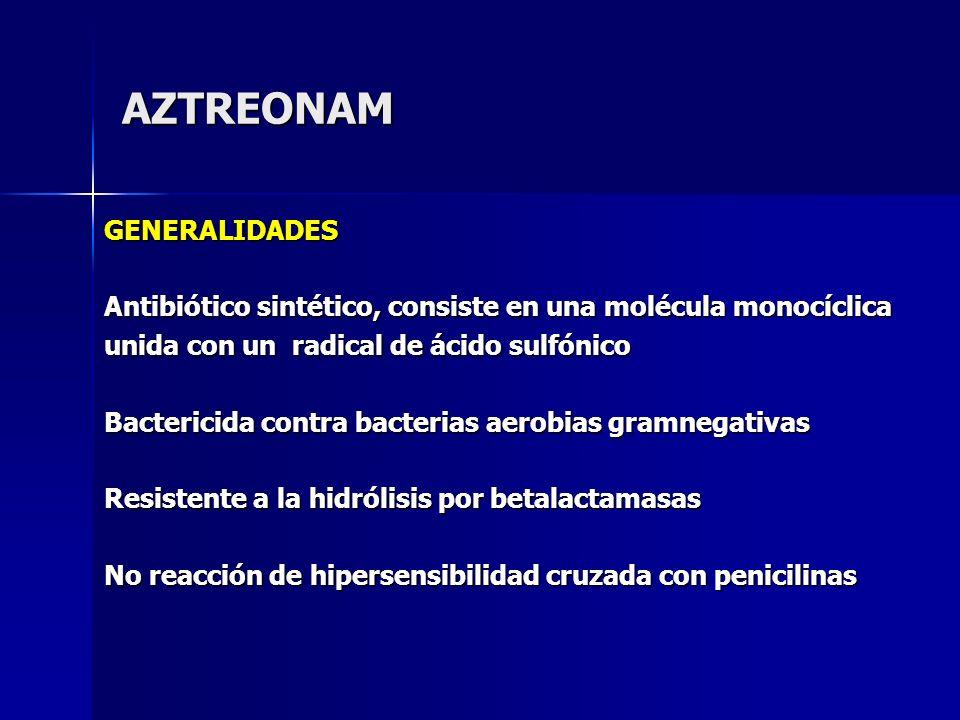 AZTREONAM GENERALIDADES Antibiótico sintético, consiste en una molécula monocíclica unida con un radical de ácido sulfónico Bactericida contra bacteri