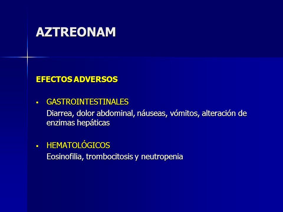 AZTREONAM EFECTOS ADVERSOS GASTROINTESTINALES GASTROINTESTINALES Diarrea, dolor abdominal, náuseas, vómitos, alteración de enzimas hepáticas HEMATOLÓG