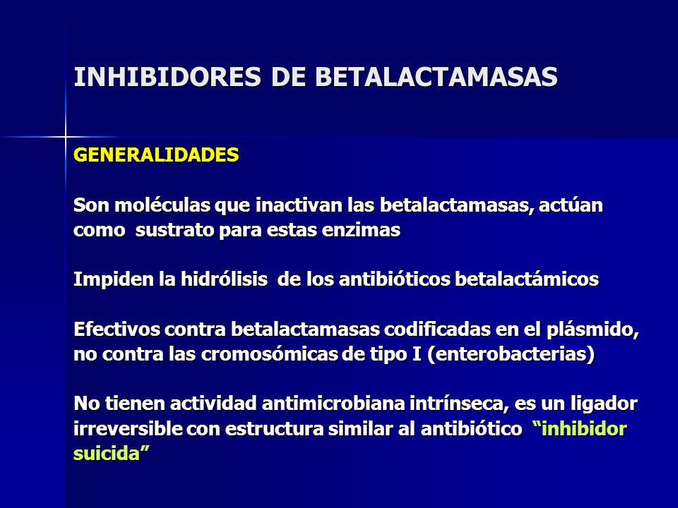 INHIBIDORES DE BETALACTAMASAS GENERALIDADES Son moléculas que inactivan las betalactamasas, actúan como sustrato para estas enzimas Impiden la hidróli