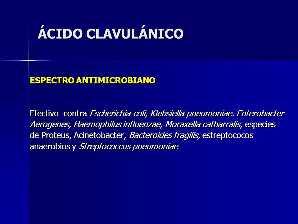 ÁCIDO CLAVULÁNICO ESPECTRO ANTIMICROBIANO Efectivo contra Escherichia coli, Klebsiella pneumoniae. Enterobacter Aerogenes, Haemophilus influenzae, Mor