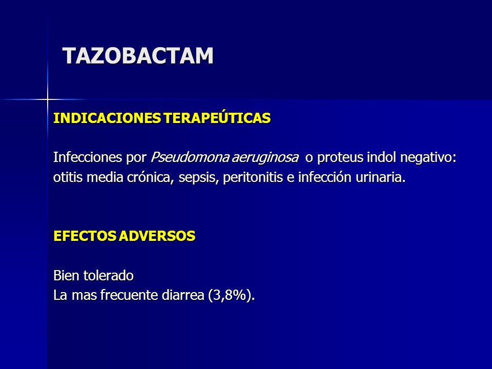 TAZOBACTAM INDICACIONES TERAPEÚTICAS Infecciones por Pseudomona aeruginosa o proteus indol negativo: otitis media crónica, sepsis, peritonitis e infec