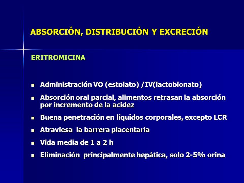 ABSORCIÓN, DISTRIBUCIÓN Y EXCRECIÓN ERITROMICINA Administración VO (estolato) /IV(lactobionato) Administración VO (estolato) /IV(lactobionato) Absorci