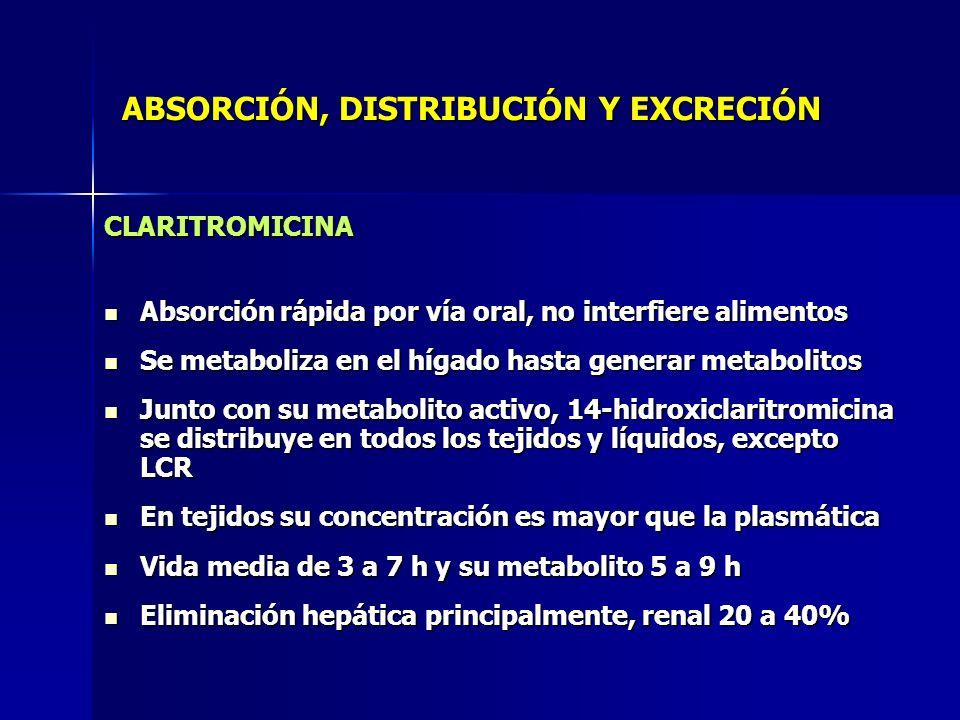 ABSORCIÓN, DISTRIBUCIÓN Y EXCRECIÓN CLARITROMICINA Absorción rápida por vía oral, no interfiere alimentos Absorción rápida por vía oral, no interfiere