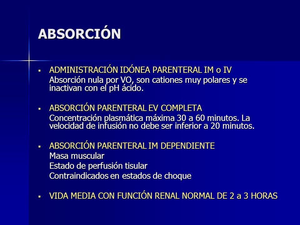 ABSORCIÓN ADMINISTRACIÓN IDÓNEA PARENTERAL IM o IV ADMINISTRACIÓN IDÓNEA PARENTERAL IM o IV Absorción nula por VO, son cationes muy polares y se inact