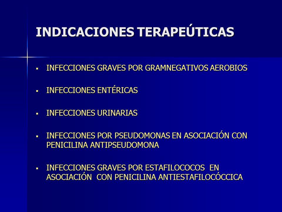 INDICACIONES TERAPEÚTICAS INFECCIONES GRAVES POR GRAMNEGATIVOS AEROBIOS INFECCIONES GRAVES POR GRAMNEGATIVOS AEROBIOS INFECCIONES ENTÉRICAS INFECCIONE