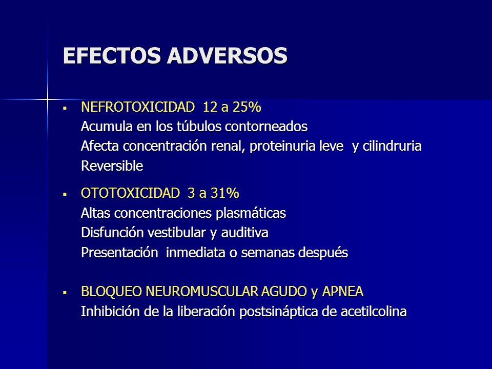 EFECTOS ADVERSOS NEFROTOXICIDAD 12 a 25% NEFROTOXICIDAD 12 a 25% Acumula en los túbulos contorneados Afecta concentración renal, proteinuria leve y ci