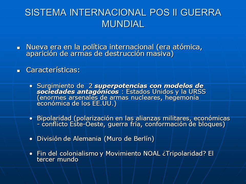 SISTEMA INTERNACIONAL POS II GUERRA MUNDIAL Nueva era en la política internacional (era atómica, aparición de armas de destrucción masiva) Nueva era e