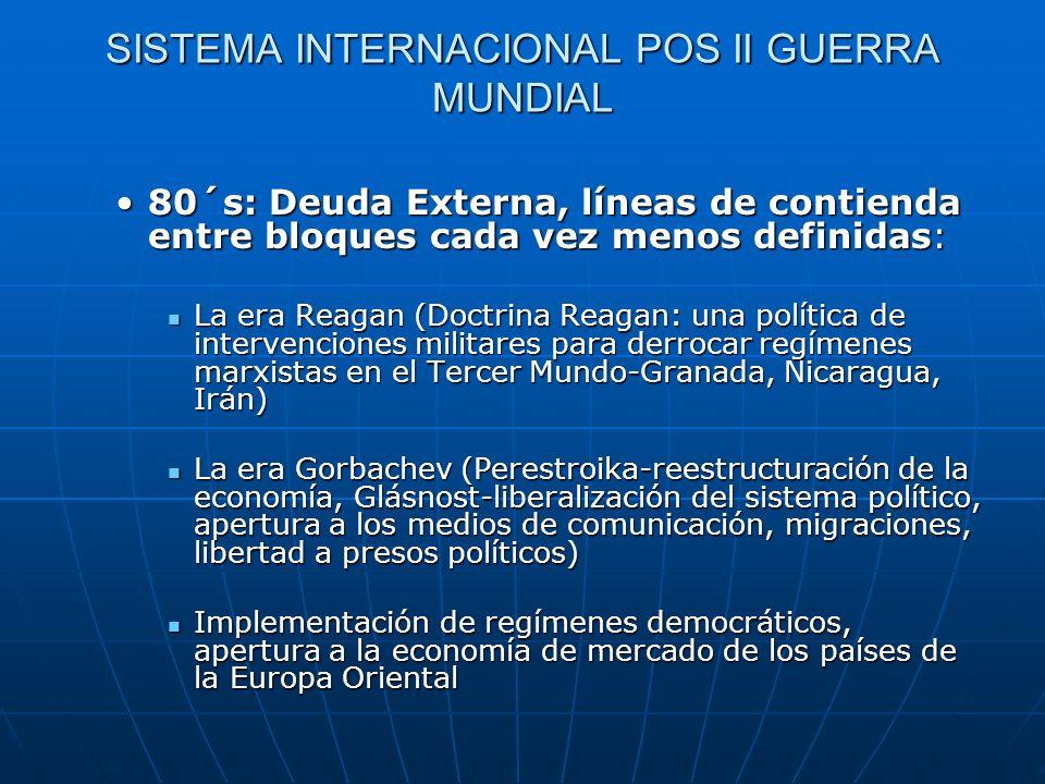 SISTEMA INTERNACIONAL POS II GUERRA MUNDIAL 80´s: Deuda Externa, líneas de contienda entre bloques cada vez menos definidas:80´s: Deuda Externa, línea