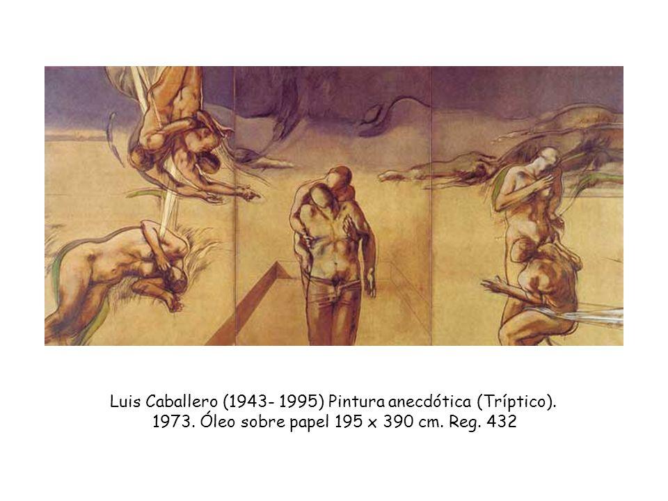 Luis Caballero (1943- 1995) Pintura anecdótica (Tríptico). 1973. Óleo sobre papel 195 x 390 cm. Reg. 432