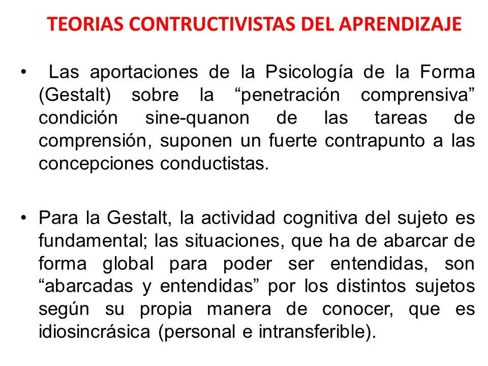 TEORIAS CONTRUCTIVISTAS DEL APRENDIZAJE Las aportaciones de la Psicología de la Forma (Gestalt) sobre la penetración comprensiva condición sine-quanon