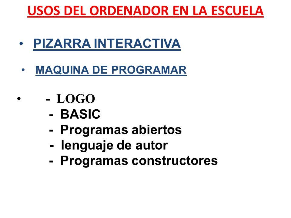 USOS DEL ORDENADOR EN LA ESCUELA - LOGO - BASIC - Programas abiertos - lenguaje de autor - Programas constructores PIZARRA INTERACTIVA MAQUINA DE PROG
