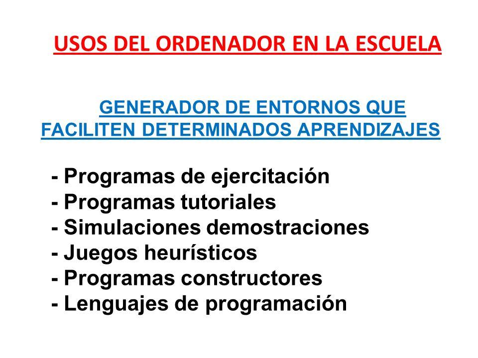 - Programas de ejercitación - Programas tutoriales - Simulaciones demostraciones - Juegos heurísticos - Programas constructores - Lenguajes de program