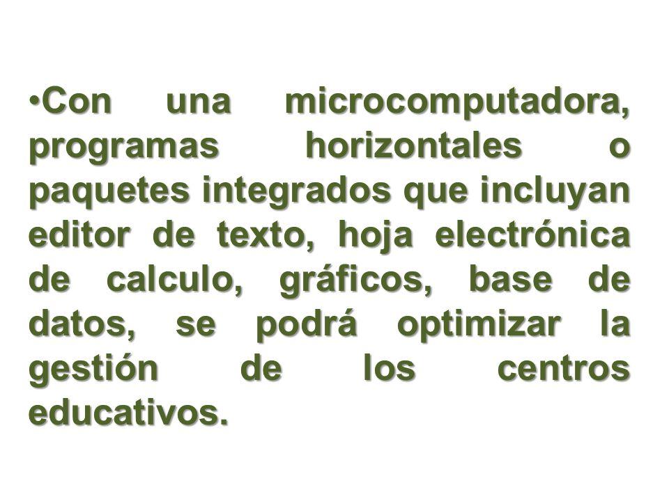Con una microcomputadora, programas horizontales o paquetes integrados que incluyan editor de texto, hoja electrónica de calculo, gráficos, base de da