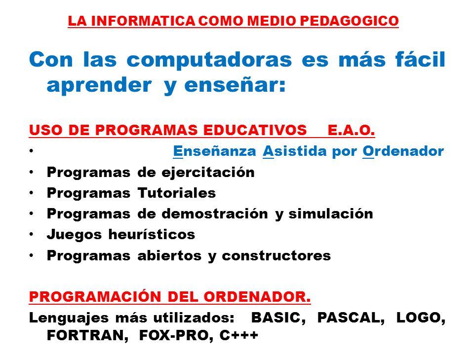 Con las computadoras es más fácil aprender y enseñar: USO DE PROGRAMAS EDUCATIVOS E.A.O. Enseñanza Asistida por Ordenador Programas de ejercitación Pr