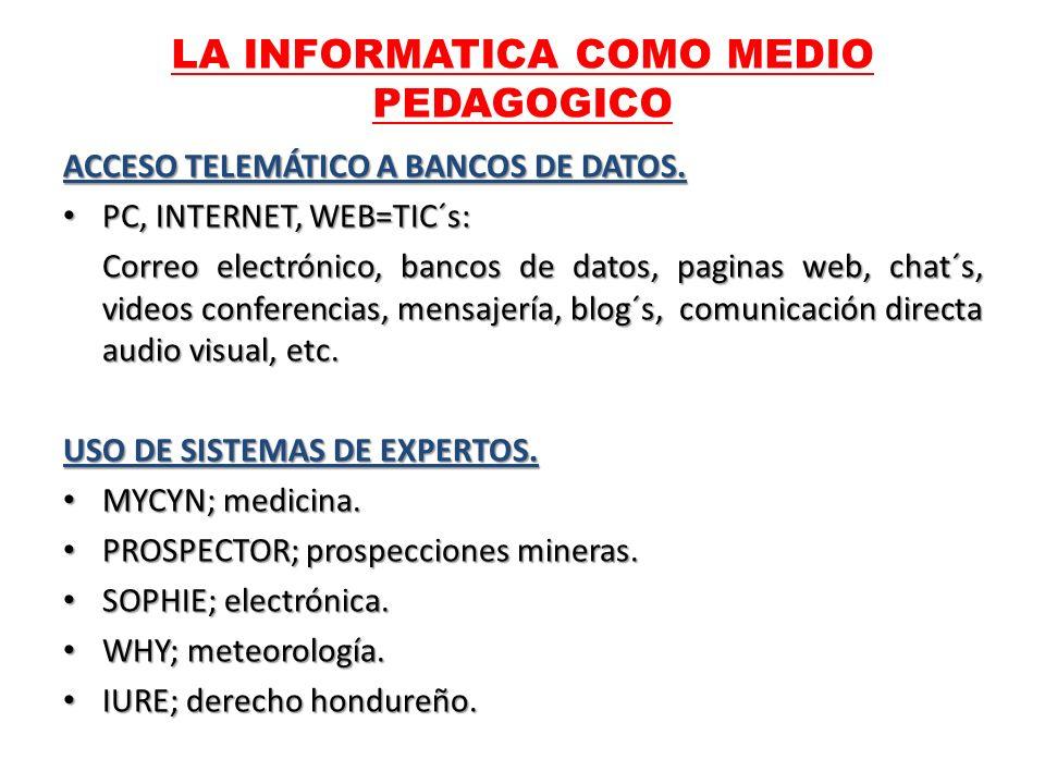 ACCESO TELEMÁTICO A BANCOS DE DATOS. PC, INTERNET, WEB=TIC´s: PC, INTERNET, WEB=TIC´s: Correo electrónico, bancos de datos, paginas web, chat´s, video