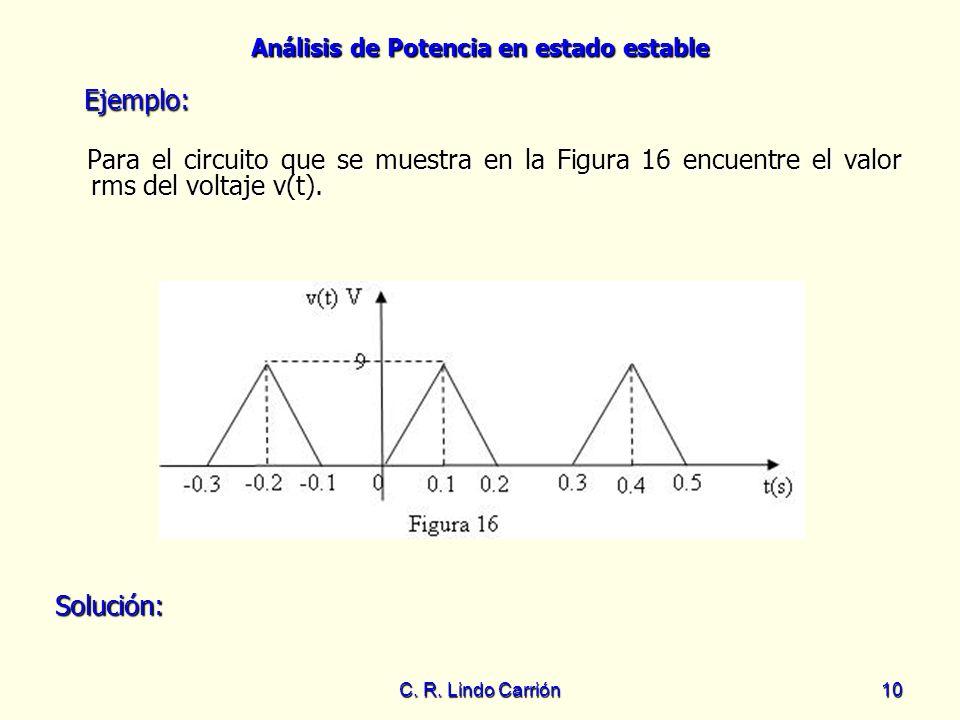 Análisis de Potencia en estado estable C. R. Lindo Carrión10 Para el circuito que se muestra en la Figura 16 encuentre el valor rms del voltaje v(t).