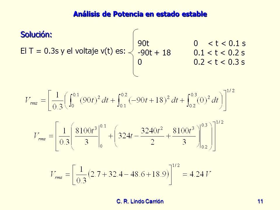 Análisis de Potencia en estado estable C. R. Lindo Carrión11 El T = 0.3s y el voltaje v(t) es: El T = 0.3s y el voltaje v(t) es: Solución: Solución: 9