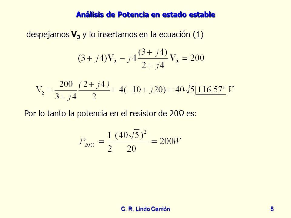 Análisis de Potencia en estado estable C. R. Lindo Carrión5 despejamos V 3 y lo insertamos en la ecuación (1) Por lo tanto la potencia en el resistor