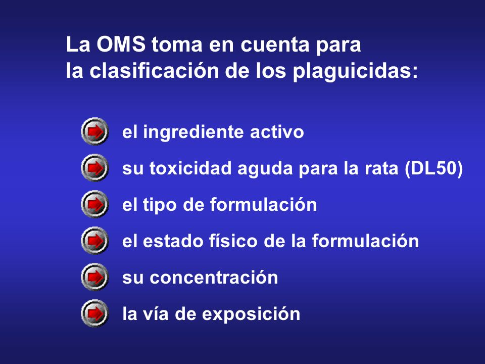 el ingrediente activo su toxicidad aguda para la rata (DL50) el tipo de formulación el estado físico de la formulación su concentración la vía de expo