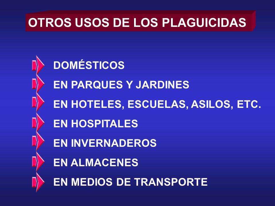 OTROS USOS DE LOS PLAGUICIDAS DOMÉSTICOS EN PARQUES Y JARDINES EN HOTELES, ESCUELAS, ASILOS, ETC. EN HOSPITALES EN INVERNADEROS EN ALMACENES EN MEDIOS