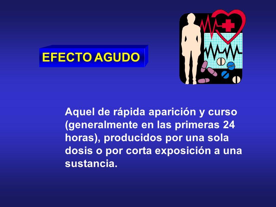 EFECTO AGUDO Aquel de rápida aparición y curso (generalmente en las primeras 24 horas), producidos por una sola dosis o por corta exposición a una sus
