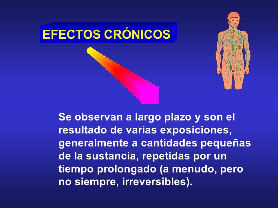 EFECTOS CRÓNICOS Se observan a largo plazo y son el resultado de varias exposiciones, generalmente a cantidades pequeñas de la sustancia, repetidas po