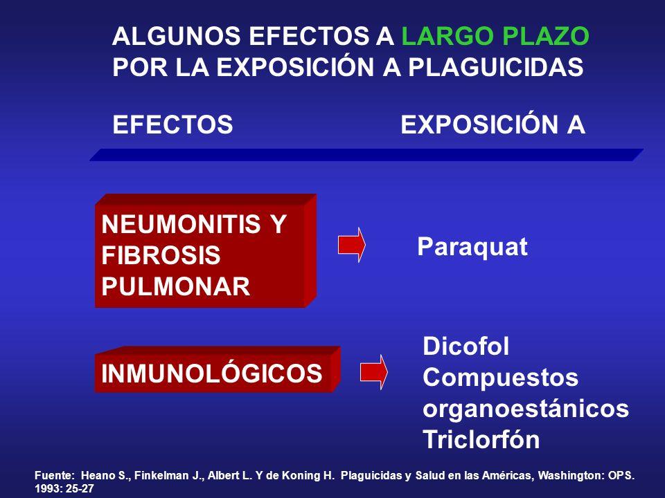 ALGUNOS EFECTOS A LARGO PLAZO POR LA EXPOSICIÓN A PLAGUICIDAS EFECTOSEXPOSICIÓN A NEUMONITIS Y FIBROSIS PULMONAR Fuente: Heano S., Finkelman J., Alber