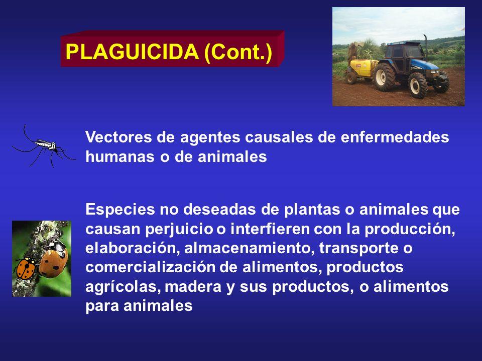 DL 50 para algunos plaguicidas Aldicarb0,93 mg/kg Cumafós 7,1 mg/kg Disulfotón 2,6 mg/kg Diclorvós 56 mg/kg Paratión 13 mg/kg Fuente: The WHO Recommended Classification of pesticides by hazard.