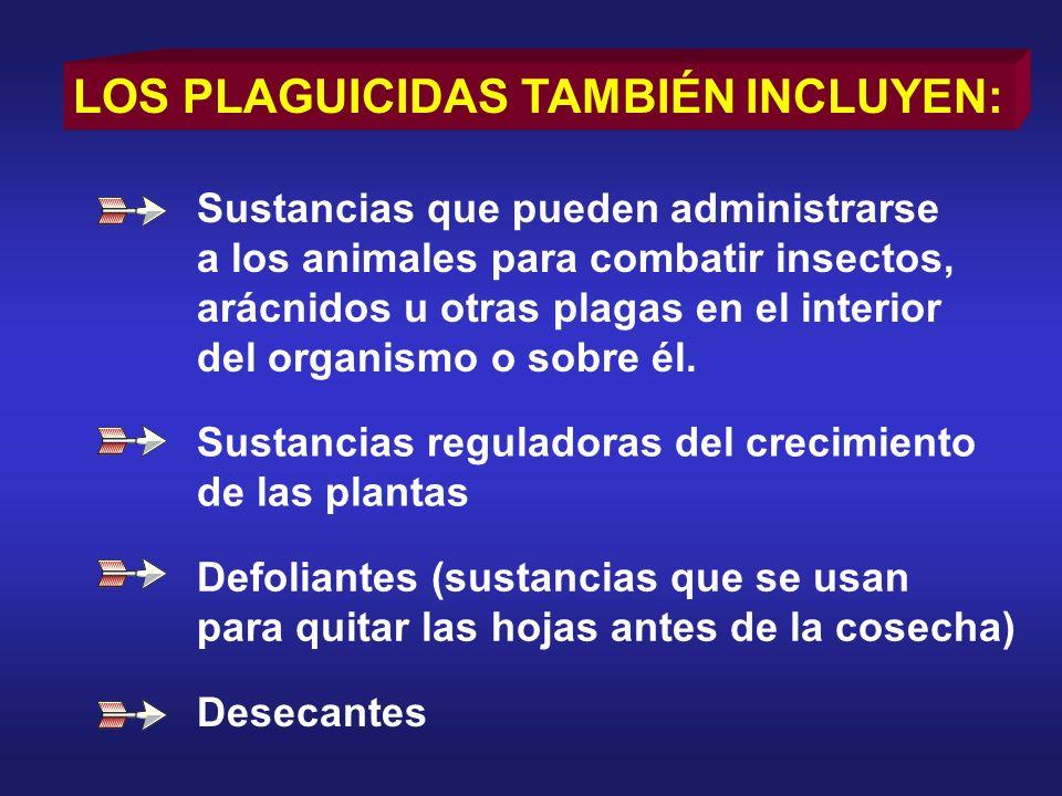 LOS PLAGUICIDAS TAMBIÉN INCLUYEN: Sustancias que pueden administrarse a los animales para combatir insectos, arácnidos u otras plagas en el interior d