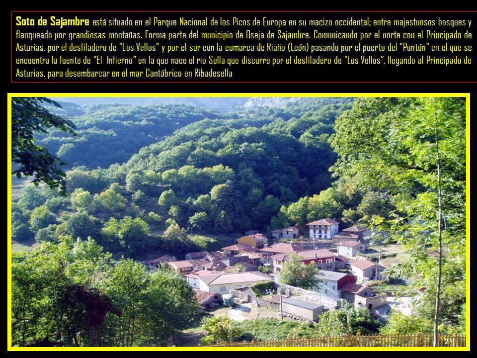 Soto de Sajambre está situado en el Parque Nacional de los Picos de Europa en su macizo occidental; entre majestuosos bosques y flanqueado por grandiosas montañas.