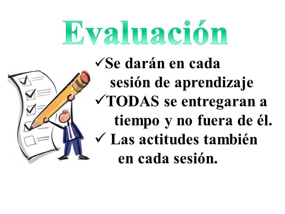 Se darán en cada sesión de aprendizaje TODAS se entregaran a tiempo y no fuera de él. Las actitudes también en cada sesión.