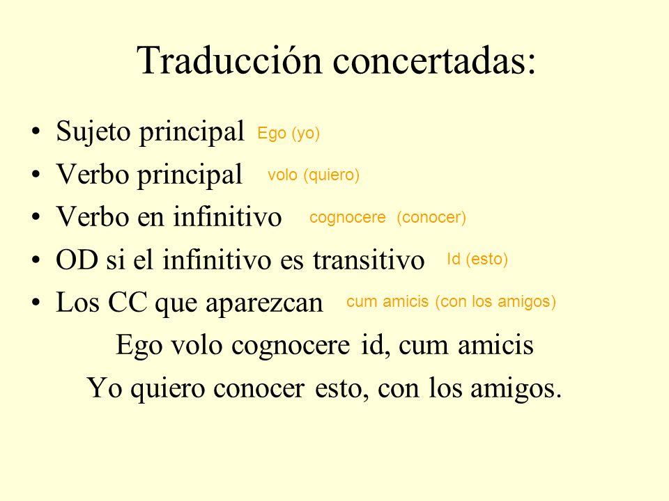Traducción concertadas: Sujeto principal Verbo principal Verbo en infinitivo OD si el infinitivo es transitivo Los CC que aparezcan Ego volo cognocere