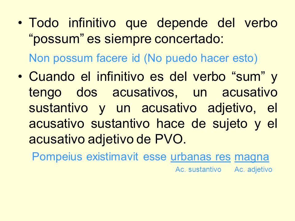 Todo infinitivo que depende del verbo possum es siempre concertado: Non possum facere id (No puedo hacer esto) Cuando el infinitivo es del verbo sum y