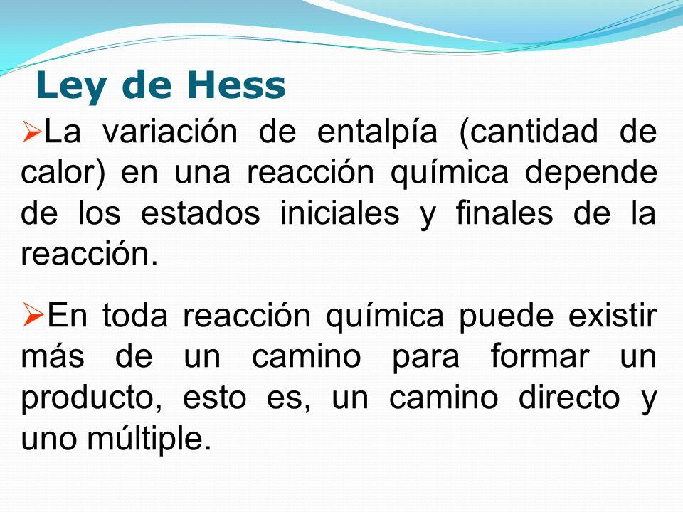 Ley de Hess La variación de entalpía (cantidad de calor) en una reacción química depende de los estados iniciales y finales de la reacción. En toda re