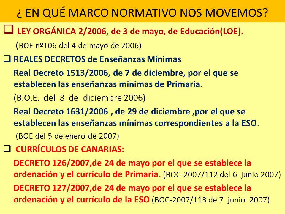¿ EN QUÉ MARCO NORMATIVO NOS MOVEMOS? LEY ORGÁNICA 2/2006, de 3 de mayo, de Educación(LOE). ( BOE nº106 del 4 de mayo de 2006) REALES DECRETOS de Ense