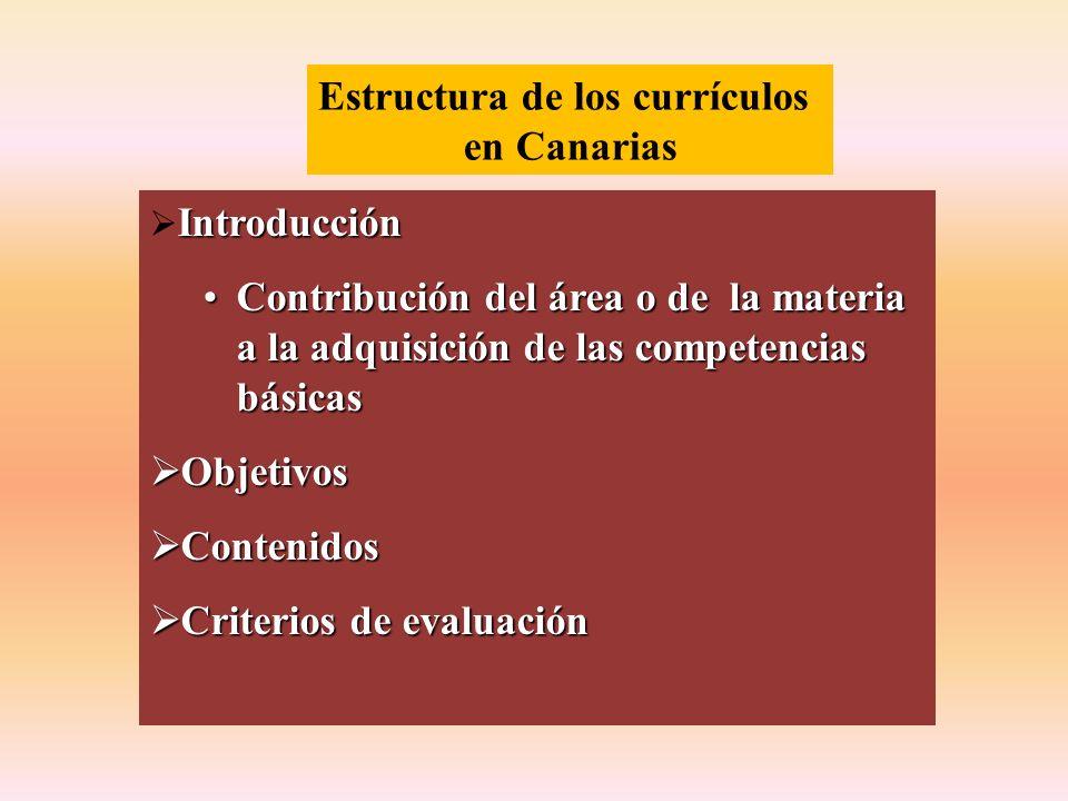 Estructura de los currículos en Canarias Introducción Contribución del área o de la materia a la adquisición de las competencias básicasContribución d