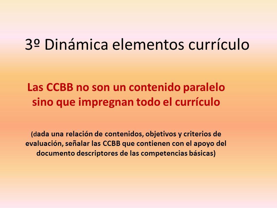 3º Dinámica elementos currículo Las CCBB no son un contenido paralelo sino que impregnan todo el currículo (d ada una relación de contenidos, objetivo