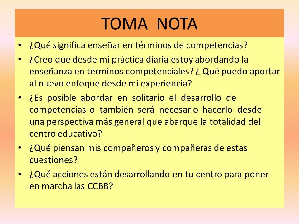 TOMA NOTA ¿Qué significa enseñar en términos de competencias? ¿Creo que desde mi práctica diaria estoy abordando la enseñanza en términos competencial