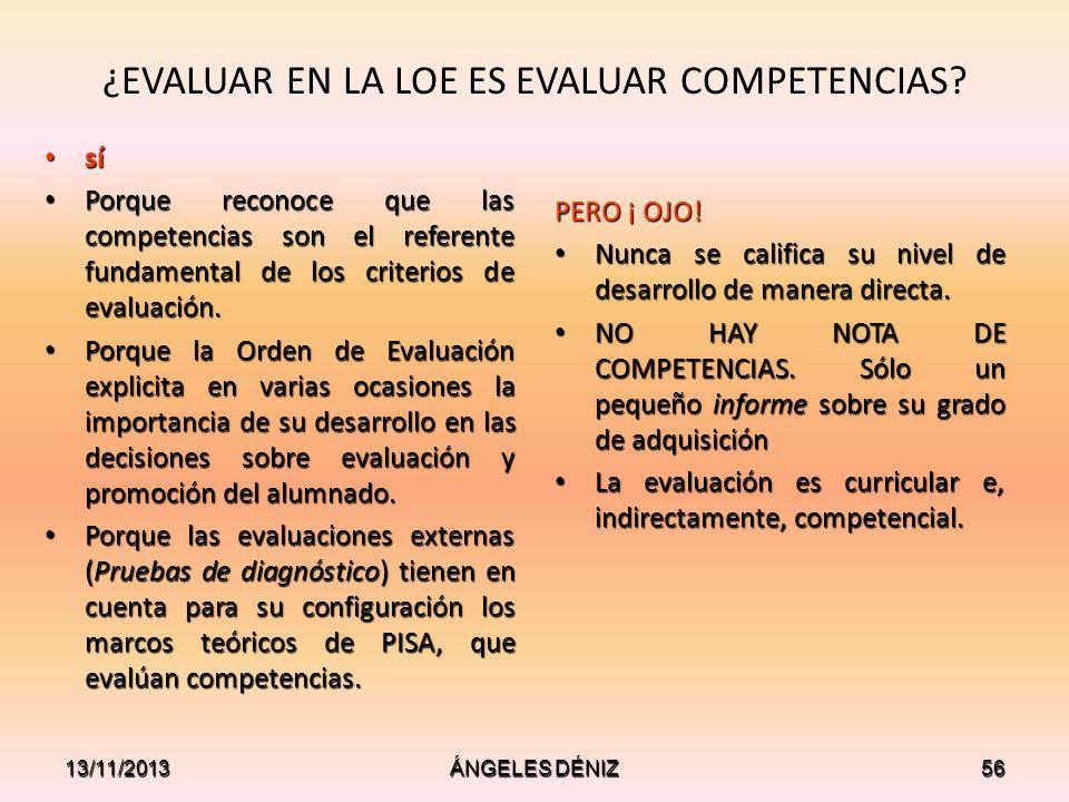 ¿EVALUAR EN LA LOE ES EVALUAR COMPETENCIAS? sí sí Porque reconoce que las competencias son el referente fundamental de los criterios de evaluación. Po