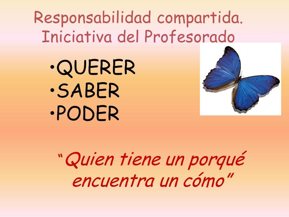 Responsabilidad compartida. Iniciativa del Profesorado QUERER SABER PODER Quien tiene un porqué encuentra un cómo
