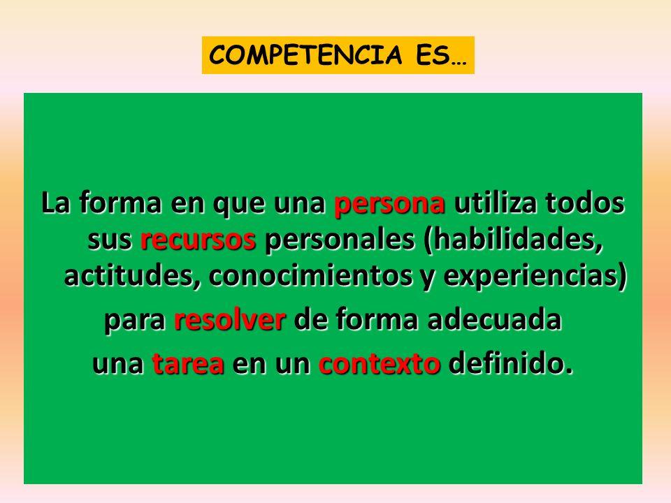 COMPETENCIA ES… La forma en que una persona utiliza todos sus recursos personales (habilidades, actitudes, conocimientos y experiencias) para resolver