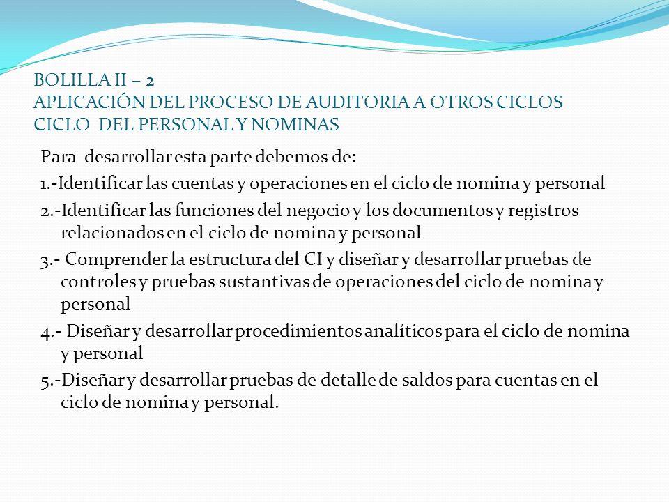 BOLILLA II – 2 APLICACIÓN DEL PROCESO DE AUDITORIA A OTROS CICLOS CICLO DEL PERSONAL Y NOMINAS Para desarrollar esta parte debemos de: 1.-Identificar