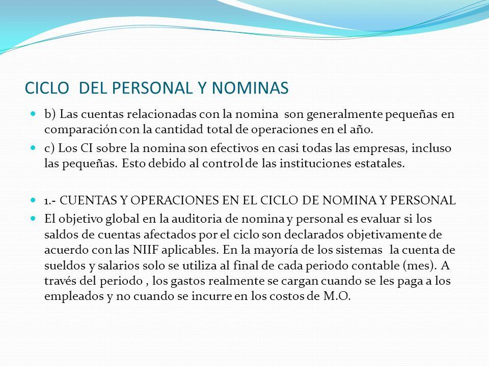 CICLO DEL PERSONAL Y NOMINAS b) Las cuentas relacionadas con la nomina son generalmente pequeñas en comparación con la cantidad total de operaciones e