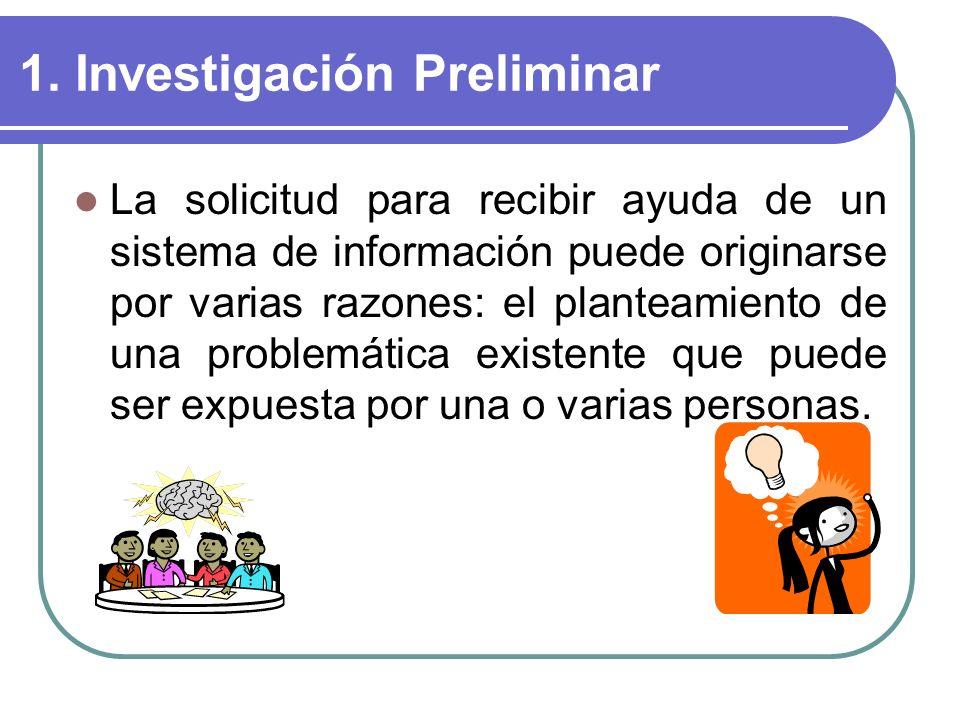 1. Investigación Preliminar La solicitud para recibir ayuda de un sistema de información puede originarse por varias razones: el planteamiento de una