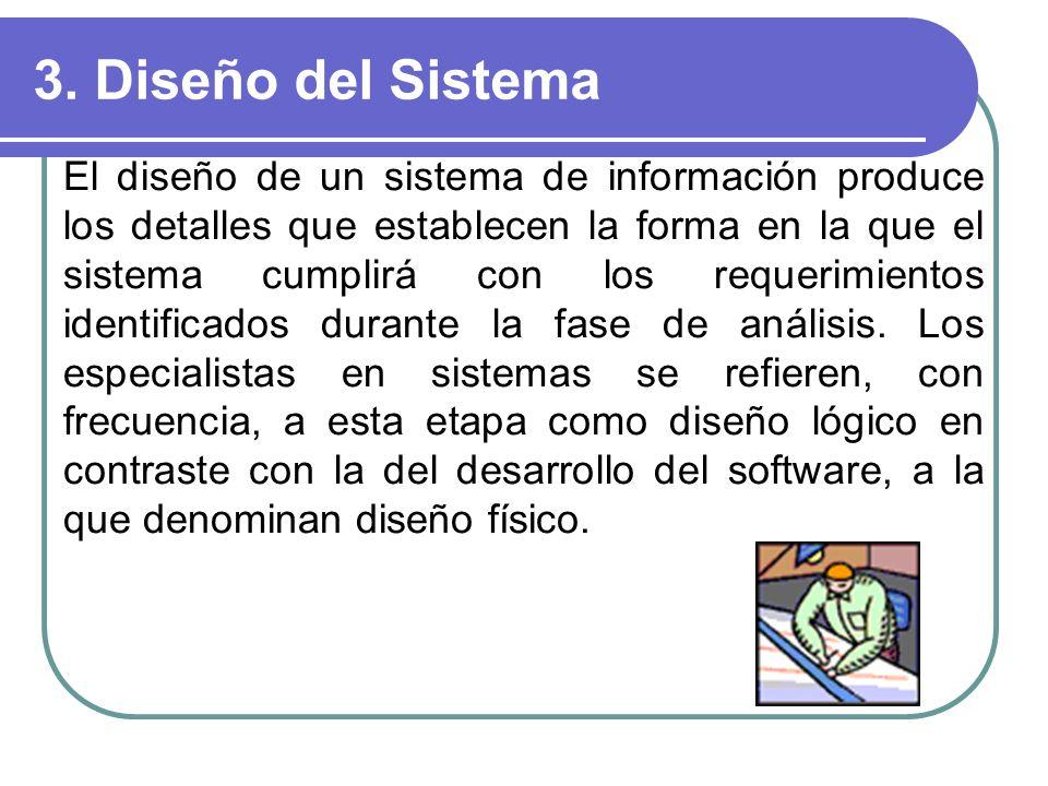 3. Diseño del Sistema El diseño de un sistema de información produce los detalles que establecen la forma en la que el sistema cumplirá con los requer