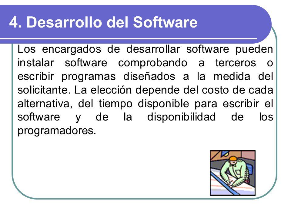 4. Desarrollo del Software Los encargados de desarrollar software pueden instalar software comprobando a terceros o escribir programas diseñados a la